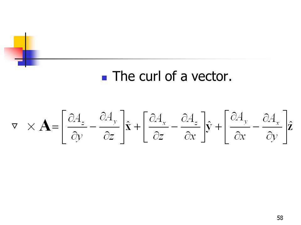 58 The curl of a vector.