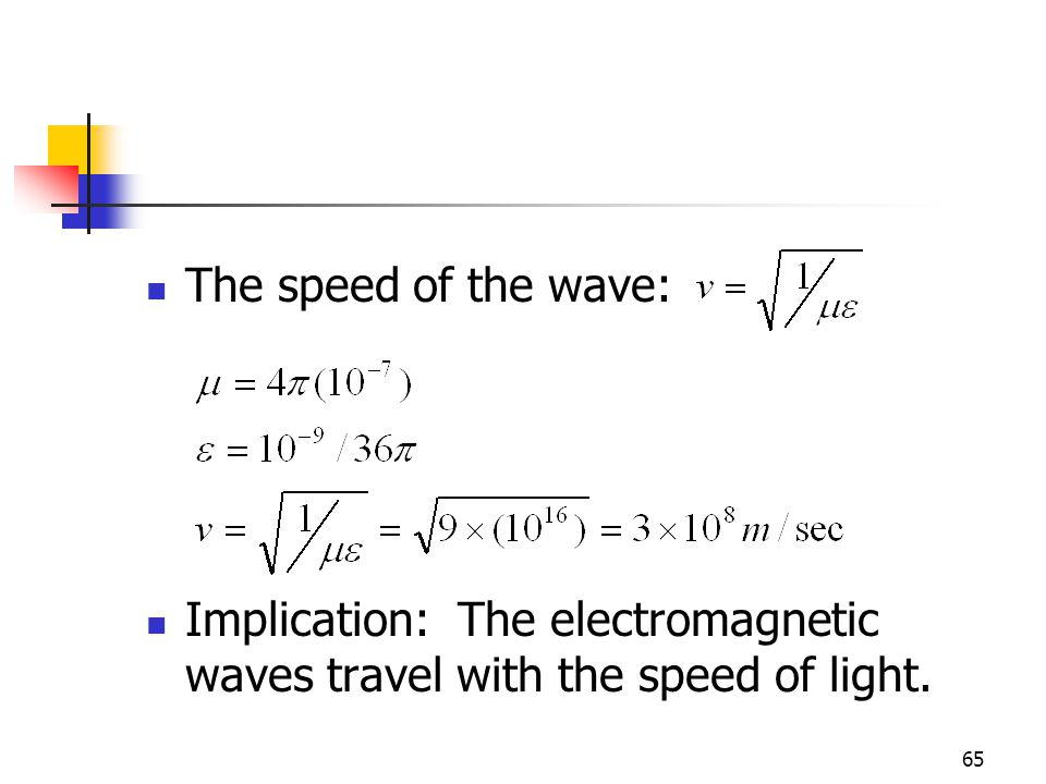 65 The speed of the wave: Implication: The electromagnetic waves travel with the speed of light.