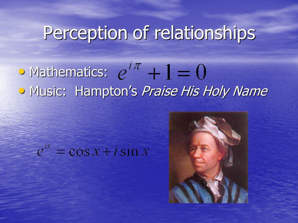Perception of relationships Mathematics: Mathematics: Music: Hamptons Praise His Holy Name Music: Hamptons Praise His Holy Name