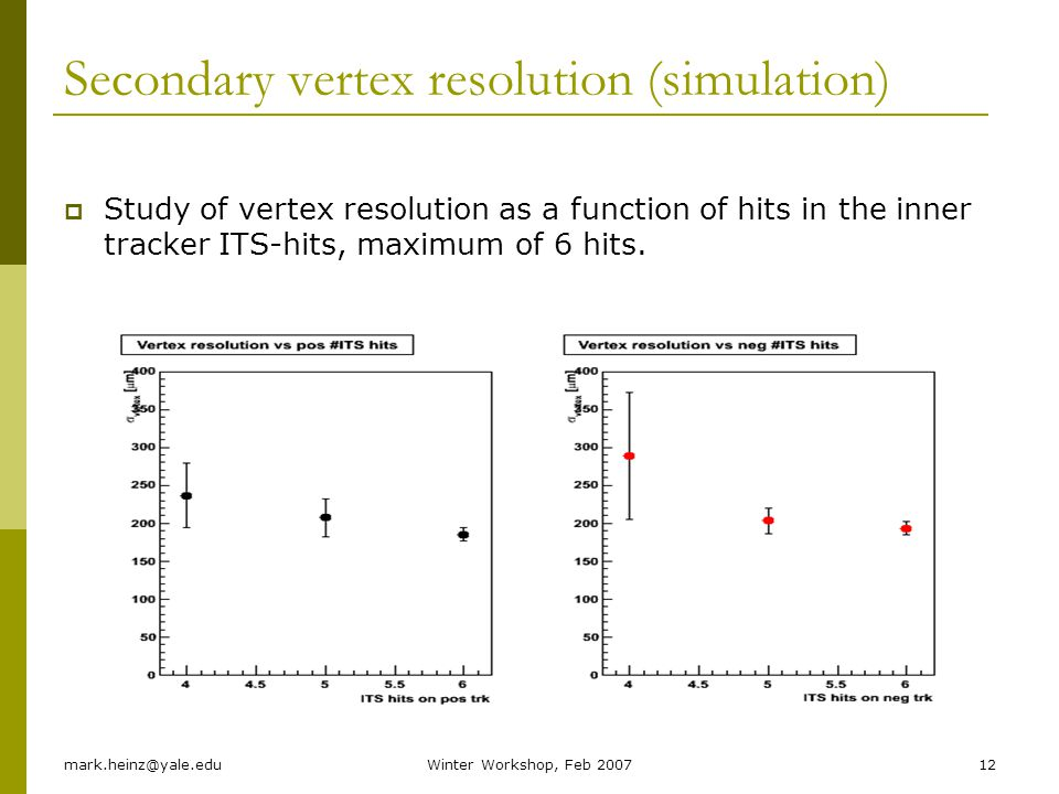 mark.heinz@yale.eduWinter Workshop, Feb 200712 Secondary vertex resolution (simulation) Study of vertex resolution as a function of hits in the inner tracker ITS-hits, maximum of 6 hits.