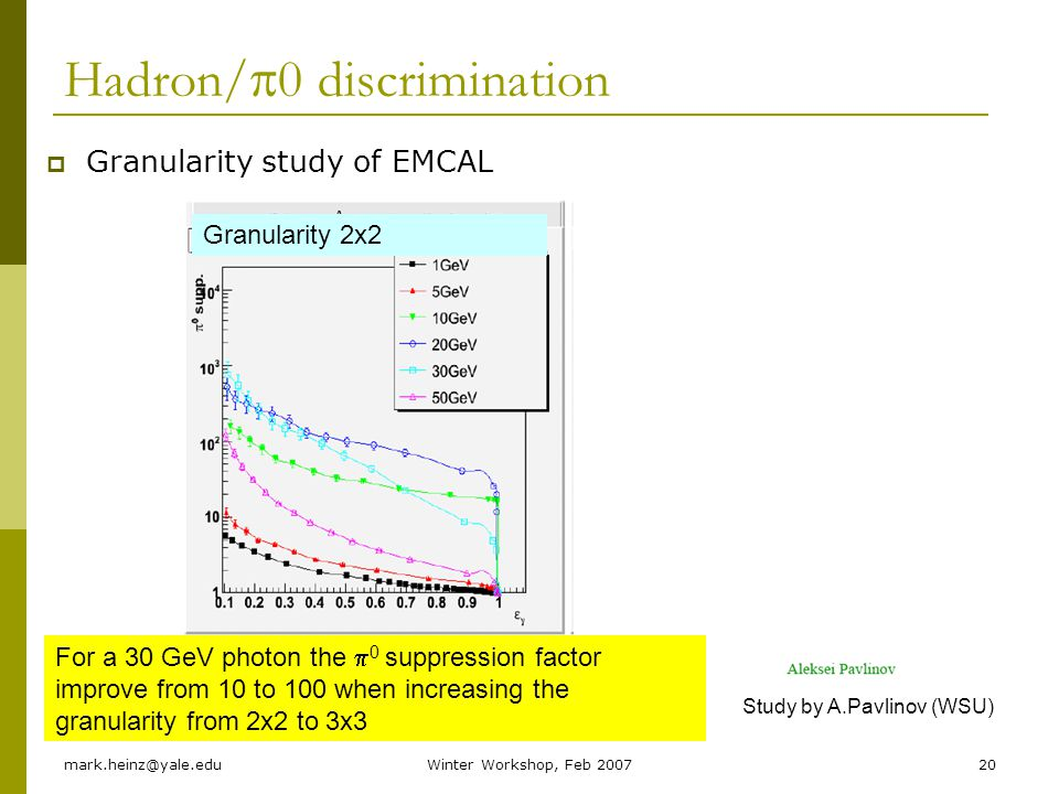 mark.heinz@yale.eduWinter Workshop, Feb 200720 Hadron/ 0 discrimination Granularity study of EMCAL For a 30 GeV photon the 0 suppression factor improve from 10 to 100 when increasing the granularity from 2x2 to 3x3 Study by A.Pavlinov (WSU) Granularity 2x2Granularity 3x3