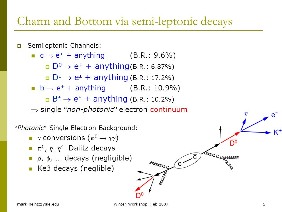 mark.heinz@yale.eduWinter Workshop, Feb 20075 Charm and Bottom via semi-leptonic decays Semileptonic Channels: c e + + anything (B.R.: 9.6%) D 0 e + +