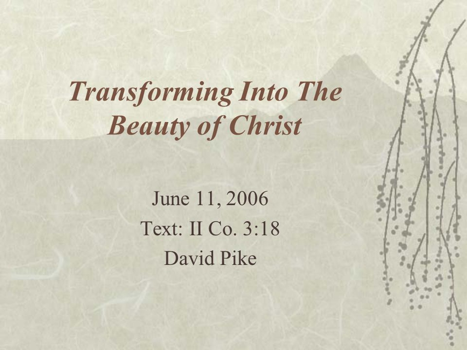 Transforming Into The Beauty of Christ June 11, 2006 Text: II Co. 3:18 David Pike