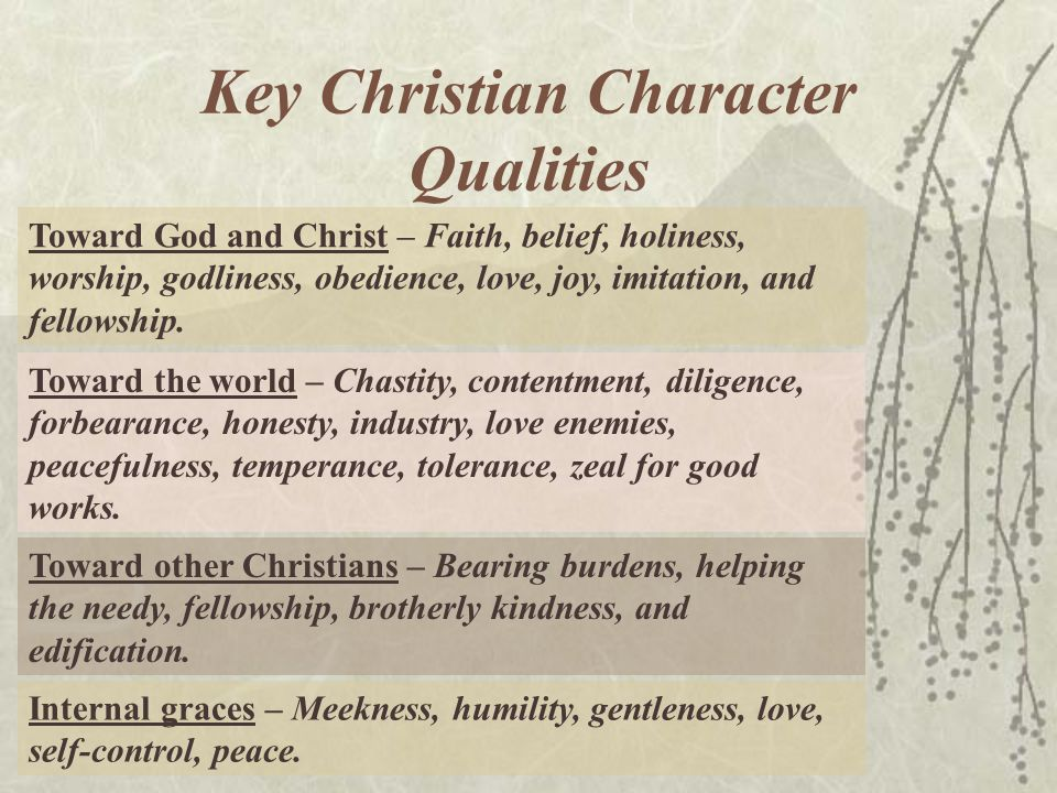 Key Christian Character Qualities Toward God and Christ – Faith, belief, holiness, worship, godliness, obedience, love, joy, imitation, and fellowship.