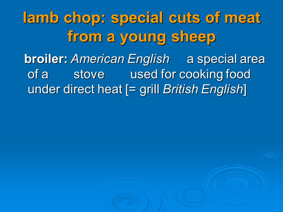 lamb chop: special cuts of meat from a young sheep broiler: American Englisha special area of astoveused for cooking food under direct heat [= grill B