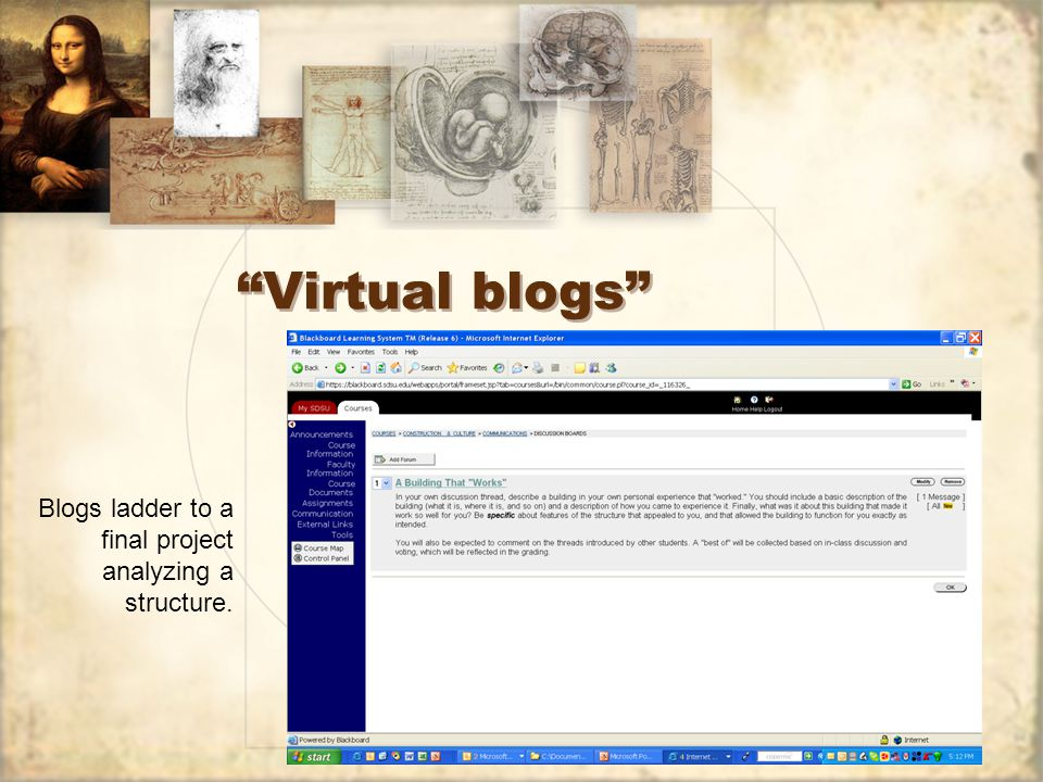 Virtual blogs Blogs ladder to a final project analyzing a structure.