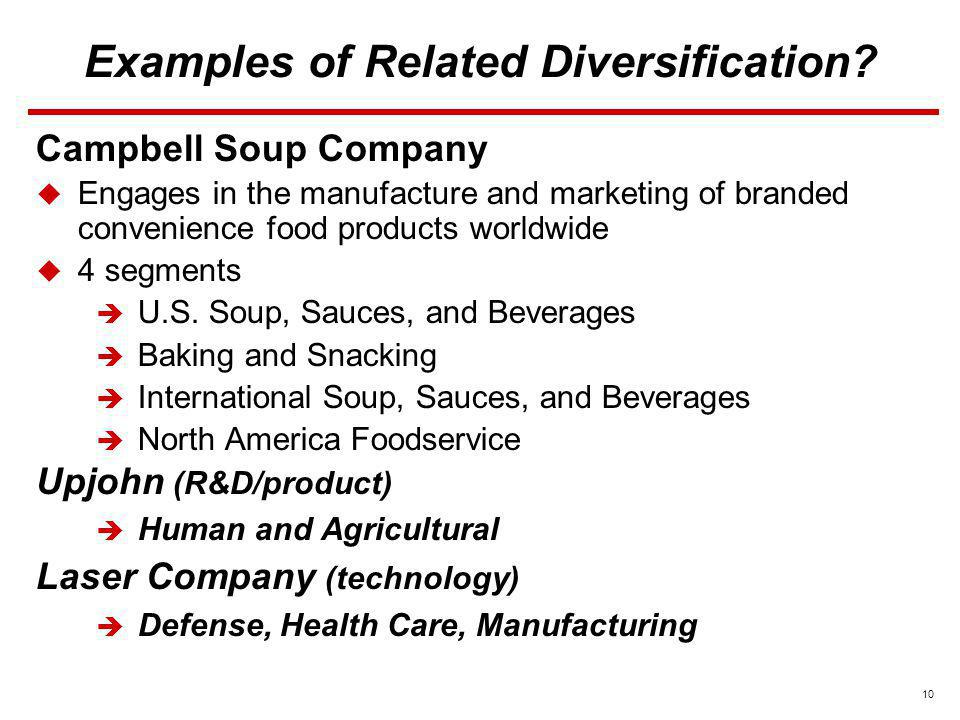 10 Examples of Related Diversification? Campbell Soup Company Engages in the manufacture and marketing of branded convenience food products worldwide