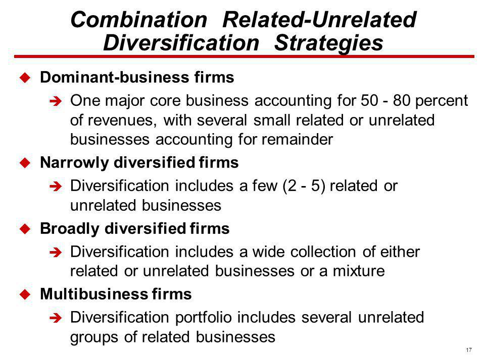 17 Dominant-business firms One major core business accounting for 50 - 80 percent of revenues, with several small related or unrelated businesses acco