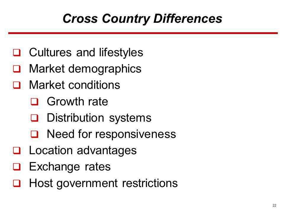 22 Cross Country Differences Cultures and lifestyles Market demographics Market conditions Growth rate Distribution systems Need for responsiveness Lo