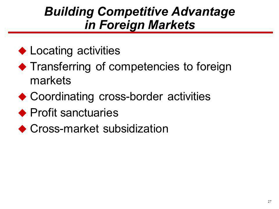 27 Building Competitive Advantage in Foreign Markets Locating activities Transferring of competencies to foreign markets Coordinating cross-border act