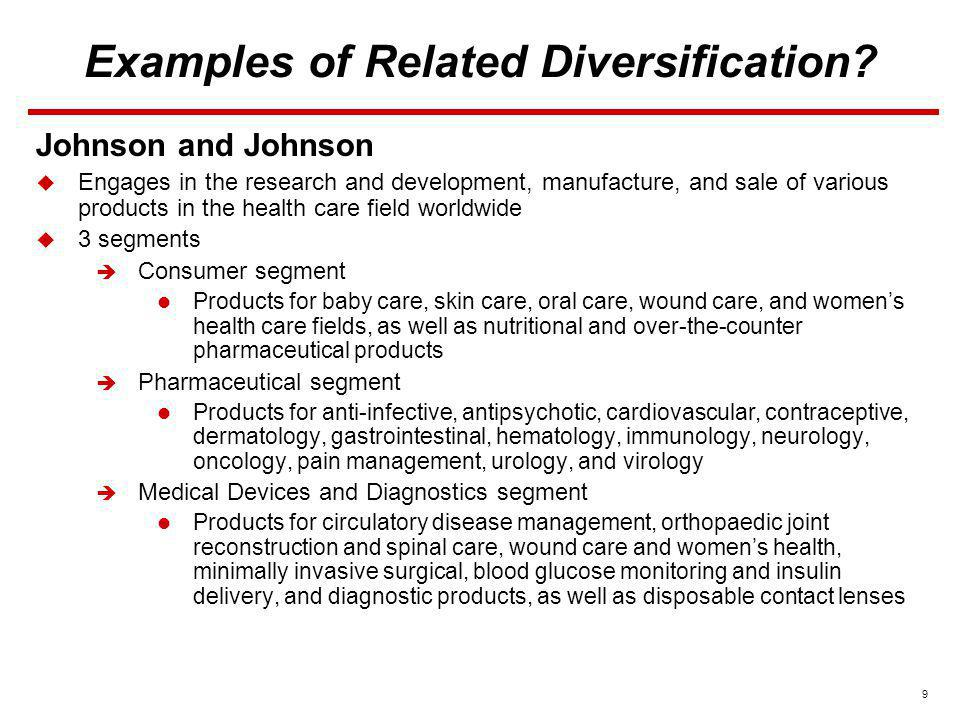 9 Examples of Related Diversification? Johnson and Johnson Engages in the research and development, manufacture, and sale of various products in the h