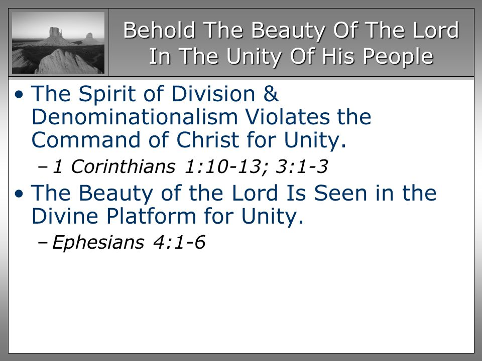 Behold The Beauty Of The Lord In The Unity Of His People The Spirit of Division & Denominationalism Violates the Command of Christ for Unity.