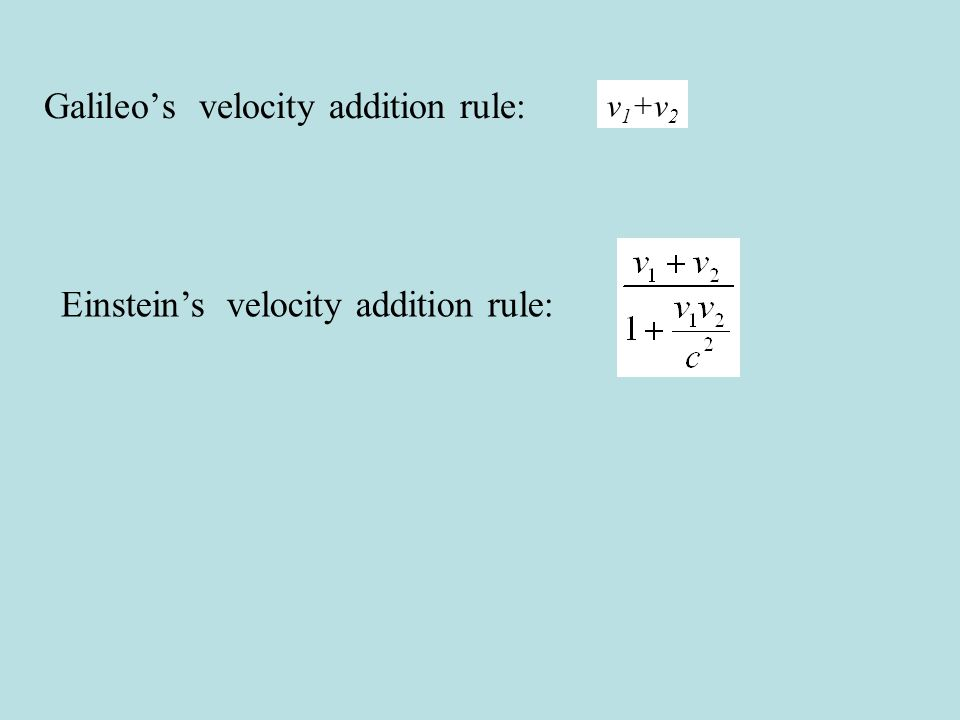 Galileos velocity addition rule: Einsteins velocity addition rule: v 1 +v 2
