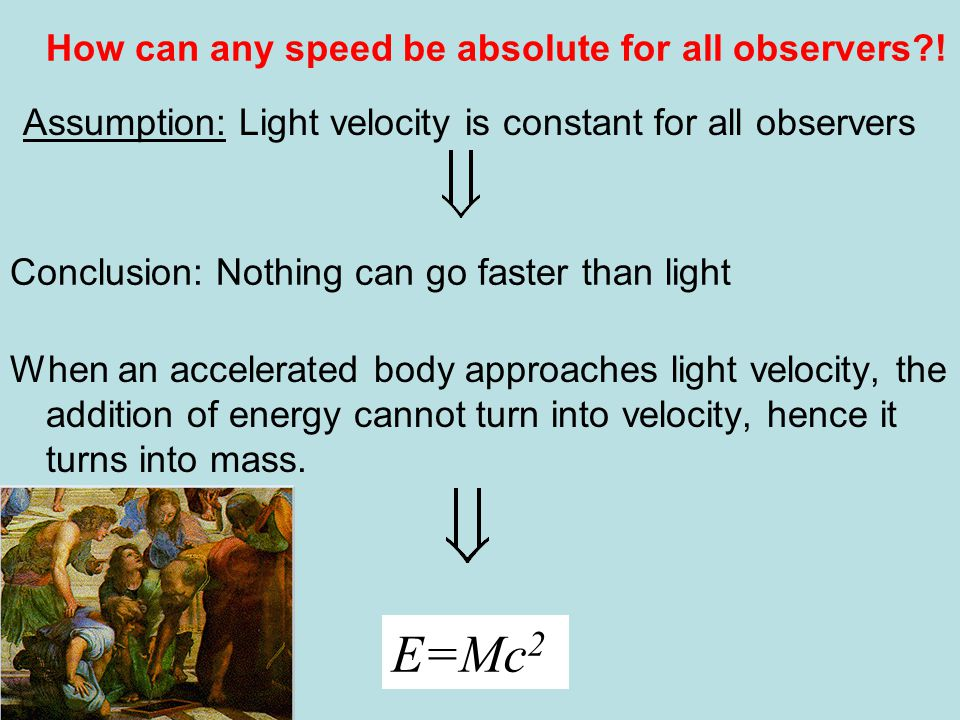 When an accelerated body approaches light velocity, the addition of energy cannot turn into velocity, hence it turns into mass.