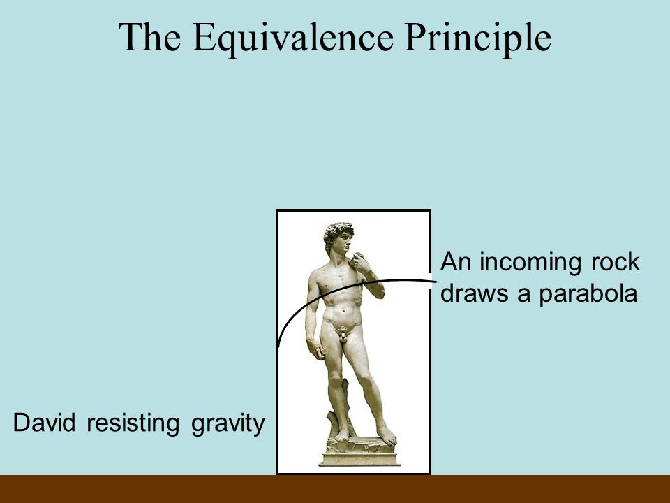 An incoming rock draws a parabola The Equivalence Principle David resisting gravity