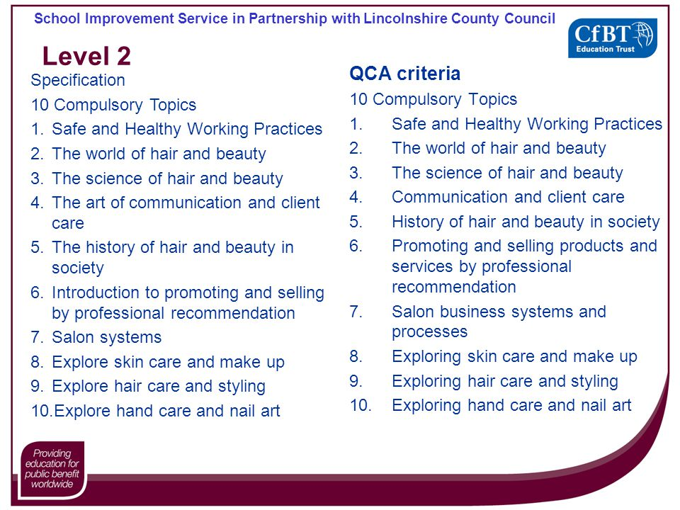 School Improvement Service in Partnership with Lincolnshire County Council Level 2 QCA criteria 10 Compulsory Topics 1.Safe and Healthy Working Practices 2.The world of hair and beauty 3.The science of hair and beauty 4.Communication and client care 5.History of hair and beauty in society 6.Promoting and selling products and services by professional recommendation 7.Salon business systems and processes 8.Exploring skin care and make up 9.Exploring hair care and styling 10.Exploring hand care and nail art Specification 10 Compulsory Topics 1.Safe and Healthy Working Practices 2.The world of hair and beauty 3.The science of hair and beauty 4.The art of communication and client care 5.The history of hair and beauty in society 6.Introduction to promoting and selling by professional recommendation 7.Salon systems 8.Explore skin care and make up 9.Explore hair care and styling 10.Explore hand care and nail art