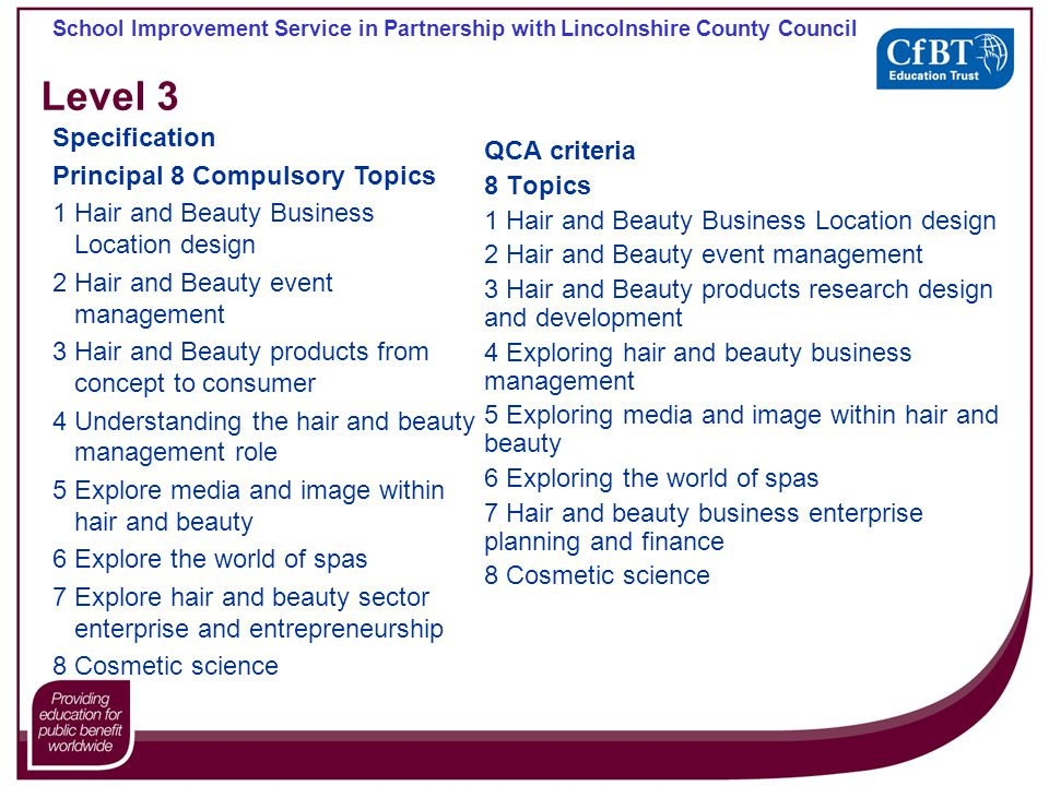 School Improvement Service in Partnership with Lincolnshire County Council Level 3 QCA criteria 8 Topics 1 Hair and Beauty Business Location design 2 Hair and Beauty event management 3 Hair and Beauty products research design and development 4 Exploring hair and beauty business management 5 Exploring media and image within hair and beauty 6 Exploring the world of spas 7 Hair and beauty business enterprise planning and finance 8 Cosmetic science Specification Principal 8 Compulsory Topics 1 Hair and Beauty Business Location design 2 Hair and Beauty event management 3 Hair and Beauty products from concept to consumer 4 Understanding the hair and beauty management role 5 Explore media and image within hair and beauty 6 Explore the world of spas 7 Explore hair and beauty sector enterprise and entrepreneurship 8 Cosmetic science