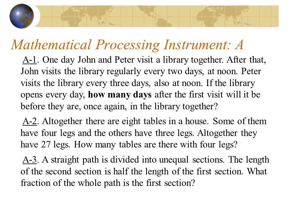 Mathematical Processing Instrument: A A-1. One day John and Peter visit a library together.