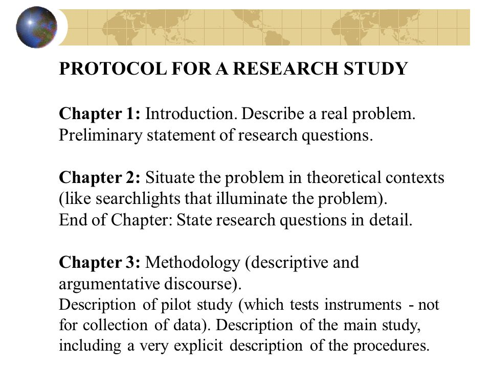 PROTOCOL FOR A RESEARCH STUDY Chapter 1: Introduction.