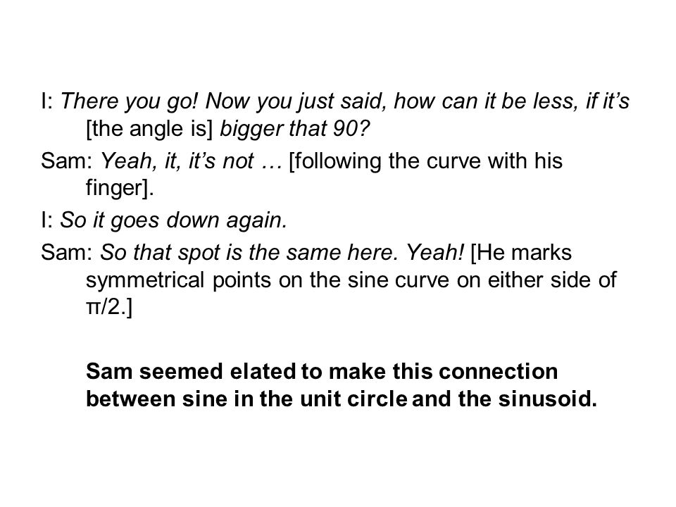 I: There you go. Now you just said, how can it be less, if its [the angle is] bigger that 90.