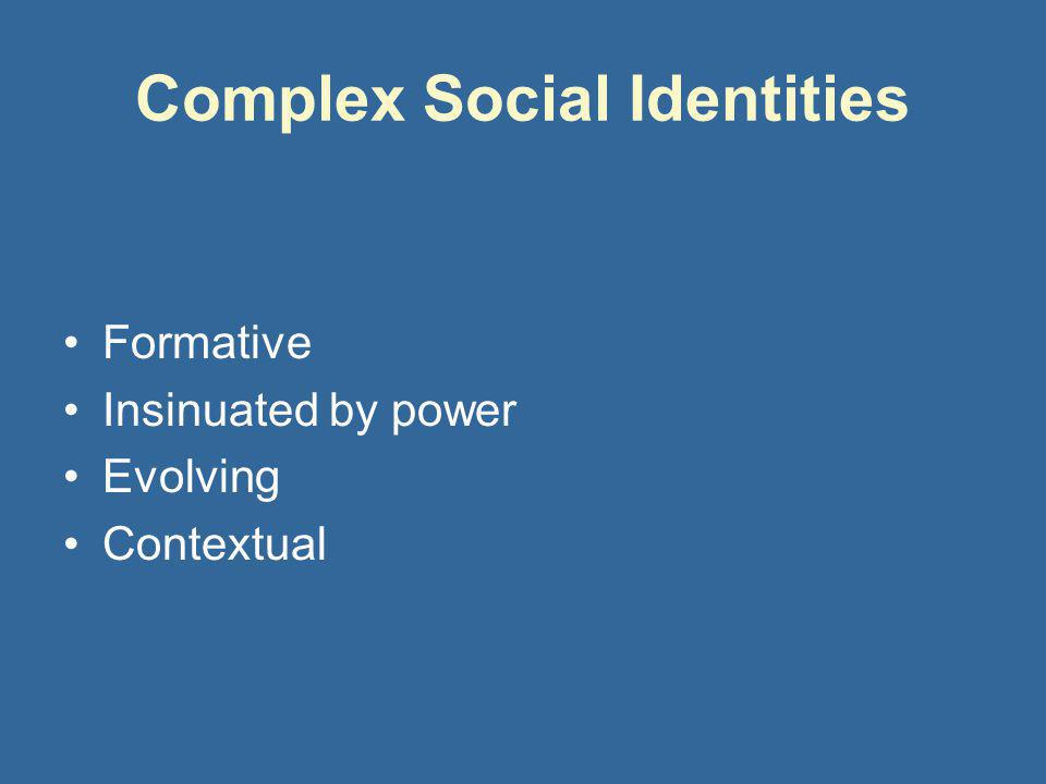 Complex Social Identities Formative Insinuated by power Evolving Contextual