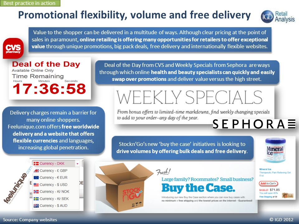 © IGD 2012 Promotional flexibility, volume and free delivery Source: Company websites StocknGos new buy the case initiatives is looking to drive volum