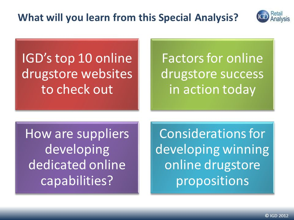© IGD 2012 What will you learn from this Special Analysis? IGDs top 10 online drugstore websites to check out Factors for online drugstore success in