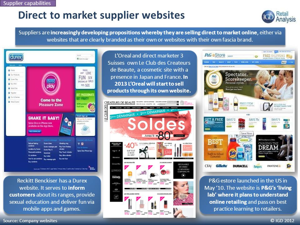 © IGD 2012 Direct to market supplier websites Source: Company websites Supplier capabilities Suppliers are increasingly developing propositions whereb