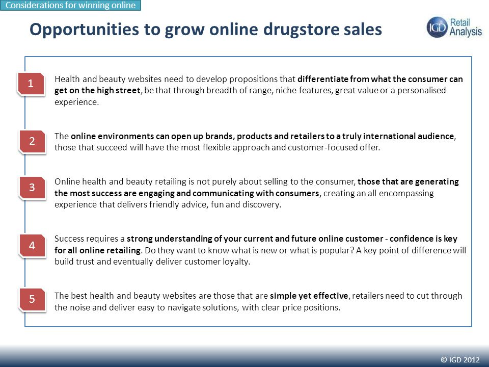 © IGD 2012 Health and beauty websites need to develop propositions that differentiate from what the consumer can get on the high street, be that through breadth of range, niche features, great value or a personalised experience.