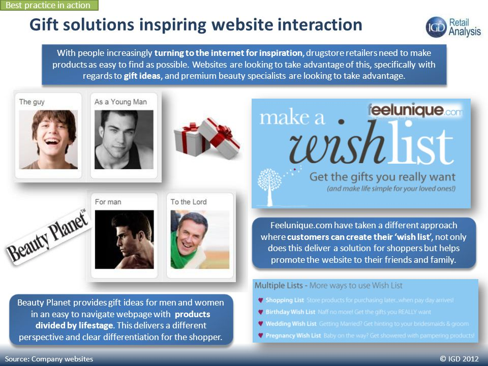 © IGD 2012 Gift solutions inspiring website interaction Source: Company websites With people increasingly turning to the internet for inspiration, drugstore retailers need to make products as easy to find as possible.