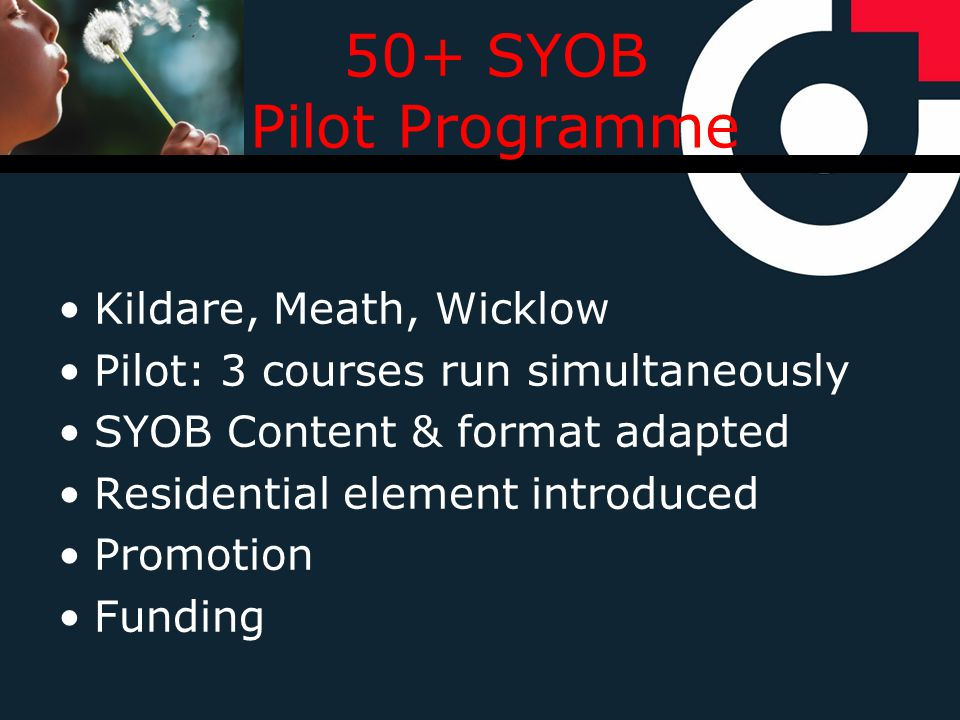 50+ SYOB Pilot Programme Kildare, Meath, Wicklow Pilot: 3 courses run simultaneously SYOB Content & format adapted Residential element introduced Promotion Funding