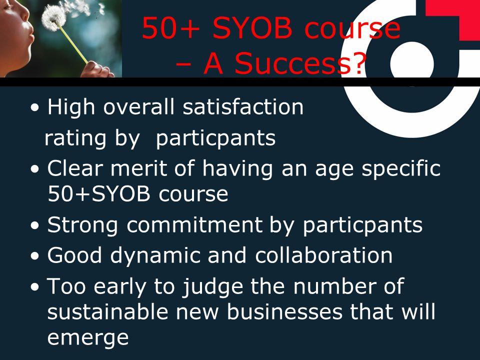 50+ SYOB course – A Success.