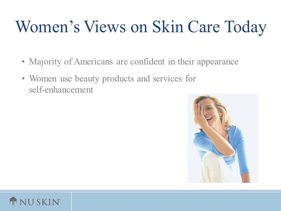 Majority of Americans are confident in their appearance Women use beauty products and services for self-enhancement Womens Views on Skin Care Today