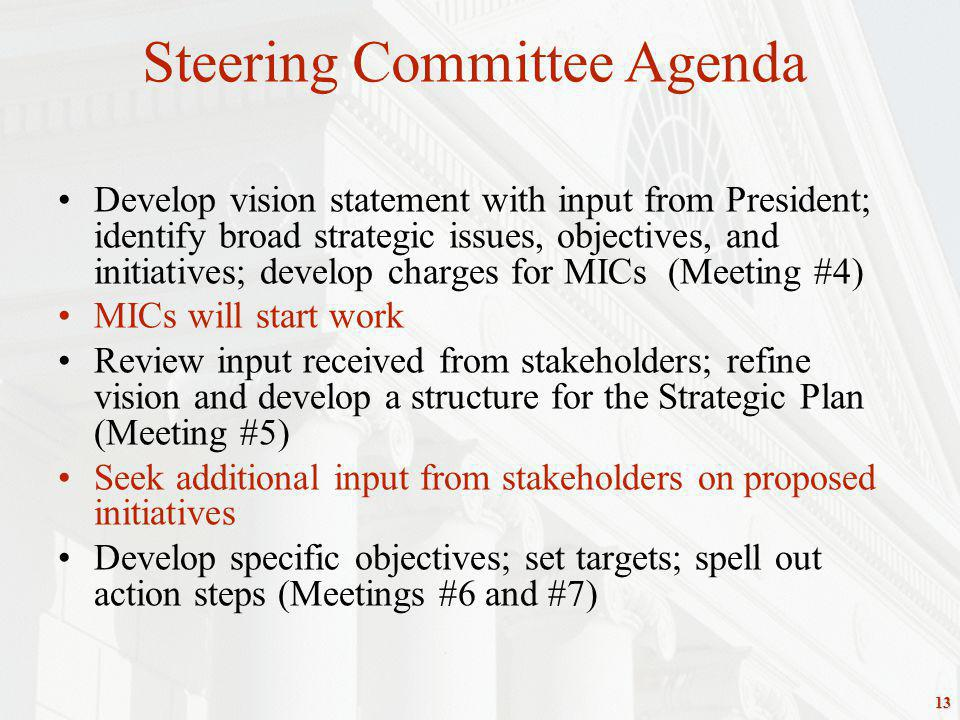 13 Develop vision statement with input from President; identify broad strategic issues, objectives, and initiatives; develop charges for MICs (Meeting #4) MICs will start work Review input received from stakeholders; refine vision and develop a structure for the Strategic Plan (Meeting #5) Seek additional input from stakeholders on proposed initiatives Develop specific objectives; set targets; spell out action steps (Meetings #6 and #7) Steering Committee Agenda