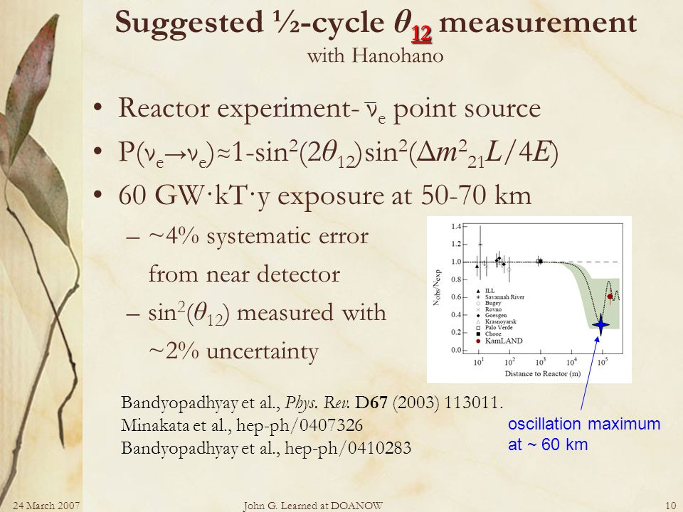 24 March 2007John G. Learned at DOANOW10 12 Suggested ½-cycle θ 12 measurement with Hanohano Reactor experiment- ν e point source P(ν e ν e ) 1-sin 2
