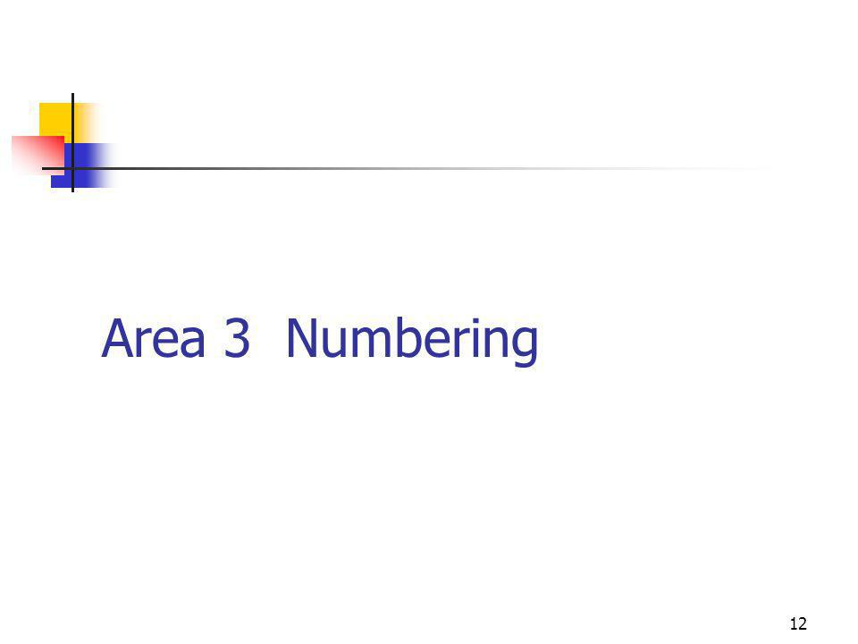 12 Area 3 Numbering