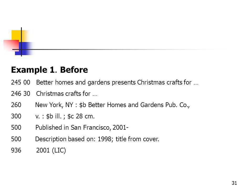 31 Example 1. Before 245 00Better homes and gardens presents Christmas crafts for … 246 30Christmas crafts for … 260 New York, NY : $b Better Homes an