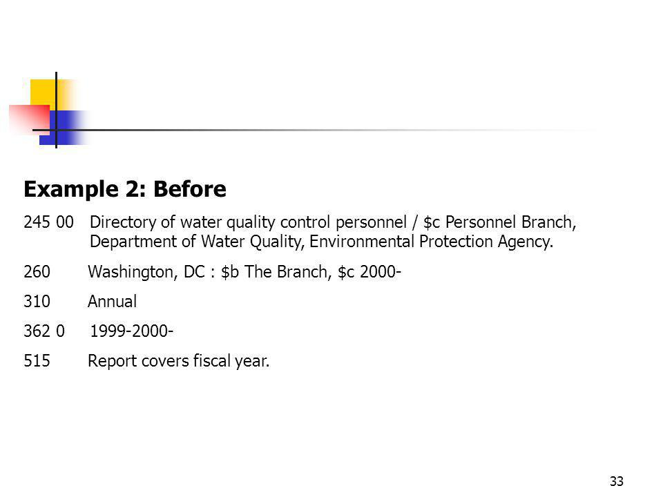 33 Example 2: Before Directory of water quality control personnel / $c Personnel Branch, Department of Water Quality, Environmental Protection Agency.