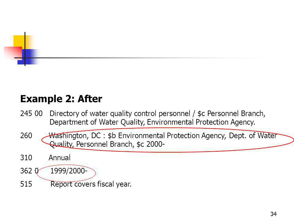 34 Example 2: After Directory of water quality control personnel / $c Personnel Branch, Department of Water Quality, Environmental Protection Agency.