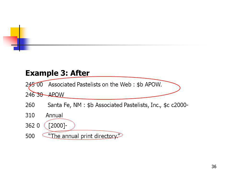 36 Example 3: After Associated Pastelists on the Web : $b APOW.