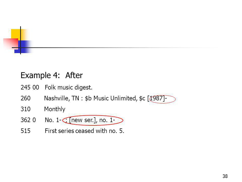 38 Example 4: After Folk music digest.