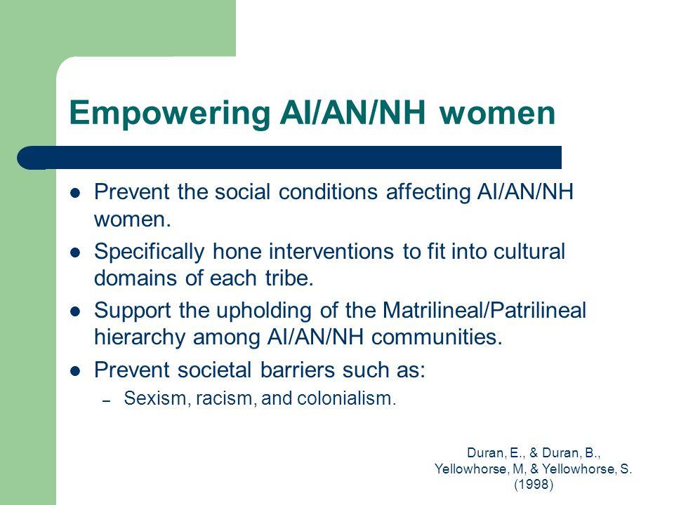 Duran, E., & Duran, B., Yellowhorse, M, & Yellowhorse, S. (1998) Empowering AI/AN/NH women Prevent the social conditions affecting AI/AN/NH women. Spe