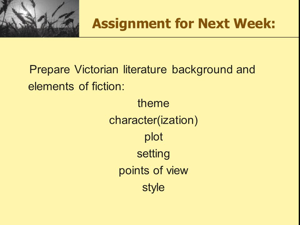 Assignment for Next Week: Prepare Victorian literature background and elements of fiction: theme character(ization) plot setting points of view style