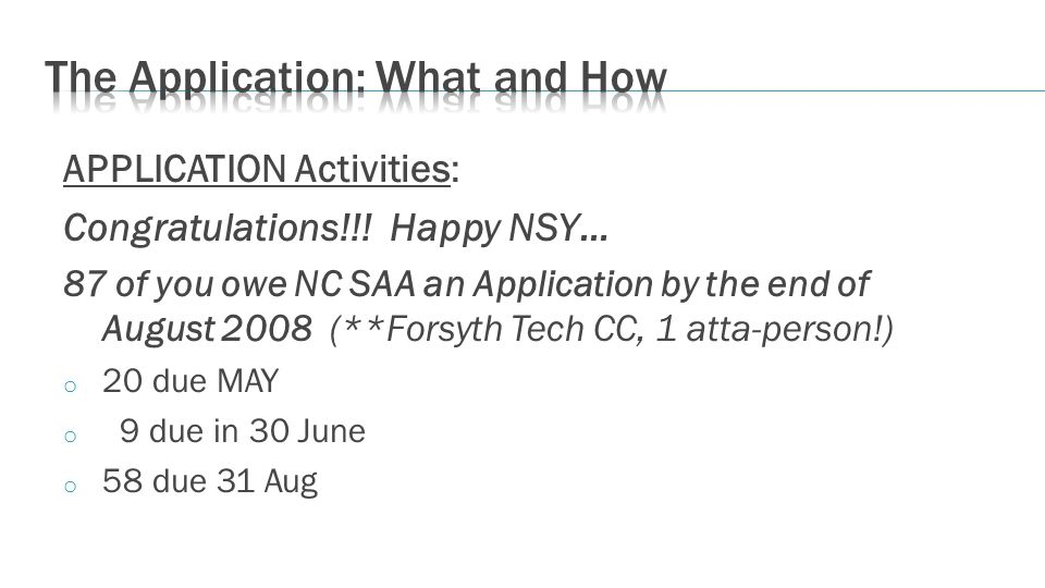 APPLICATION Activities: Congratulations!!! Happy NSY… 87 of you owe NC SAA an Application by the end of August 2008 (**Forsyth Tech CC, 1 atta-person!
