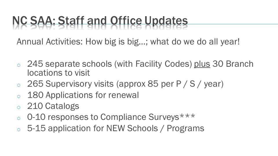 Annual Activities: How big is big…; what do we do all year! o 245 separate schools (with Facility Codes) plus 30 Branch locations to visit o 265 Super