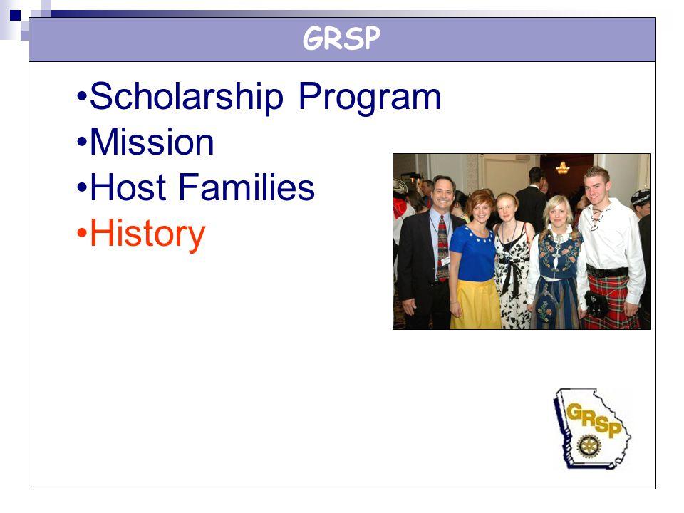 GRSP Scholarship Program Mission Host Families History