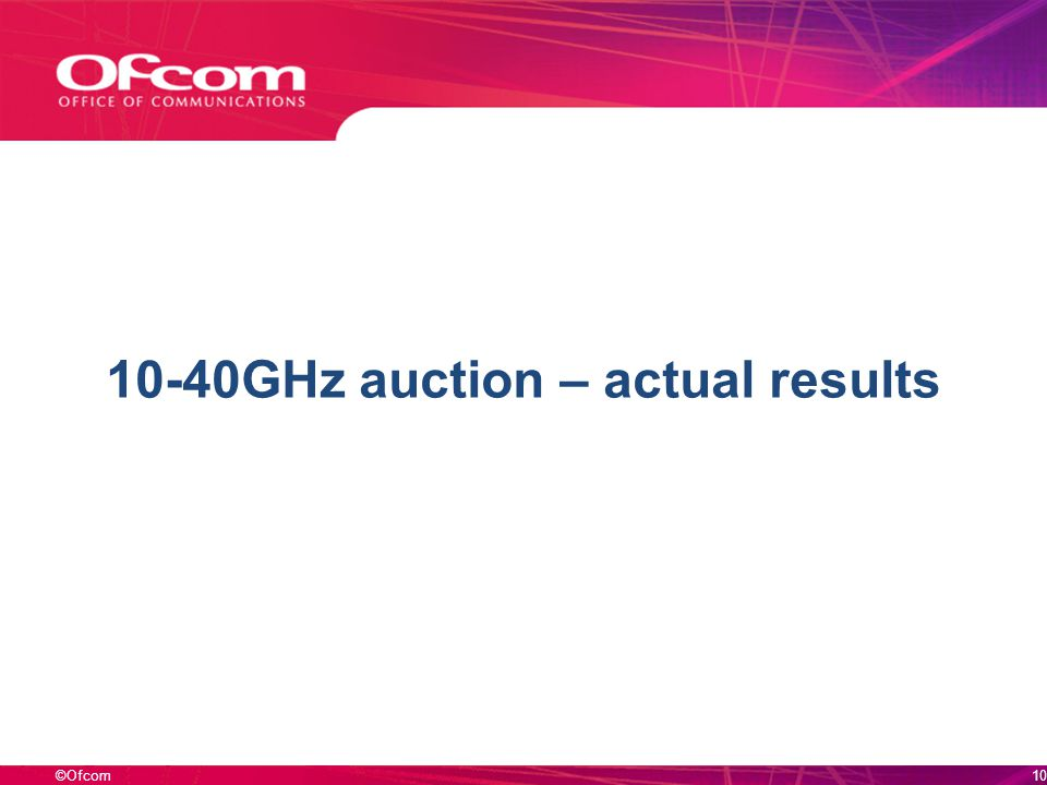 ©Ofcom 10-40GHz auction – actual results 10