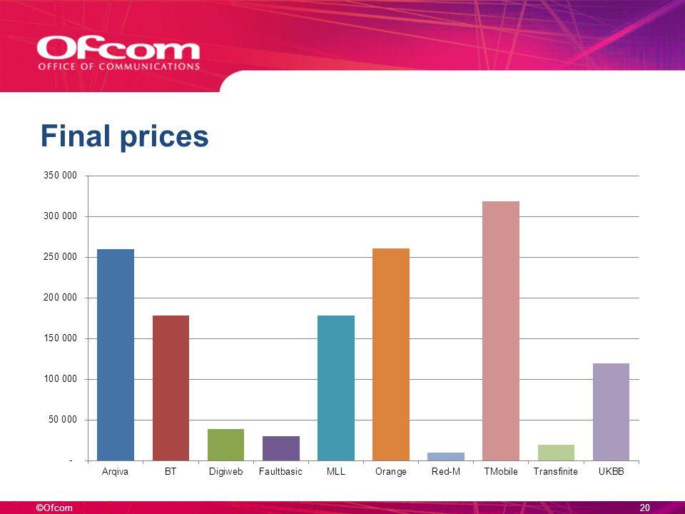©Ofcom Final prices 20