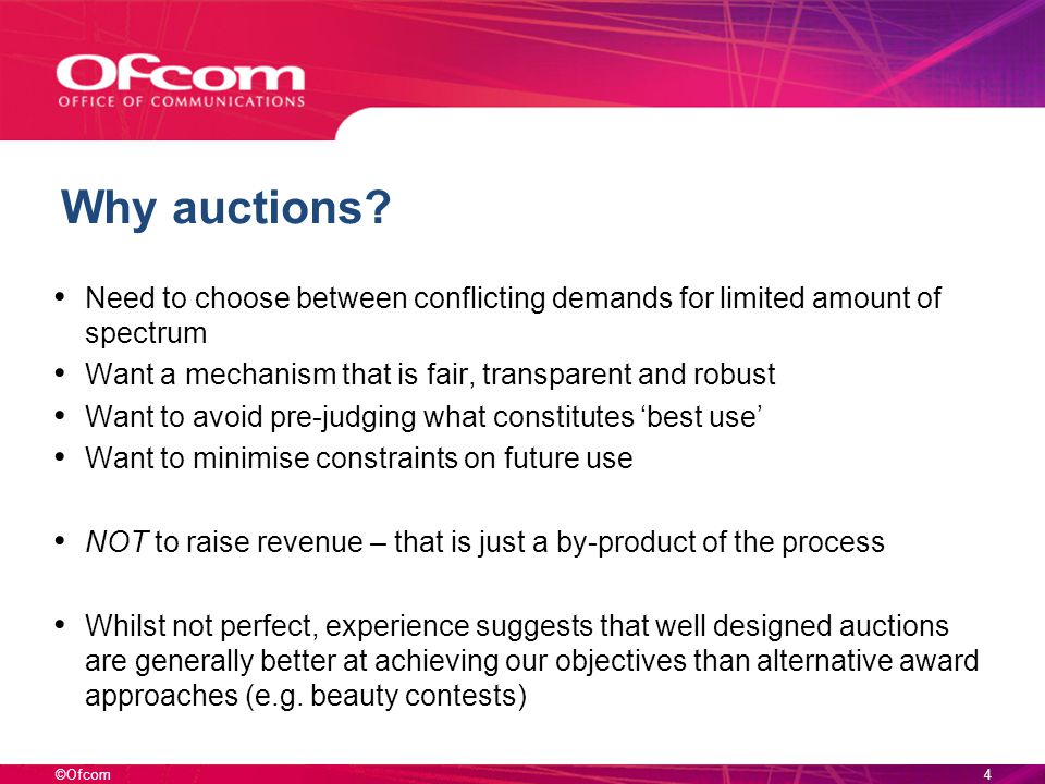 ©Ofcom Why auctions.
