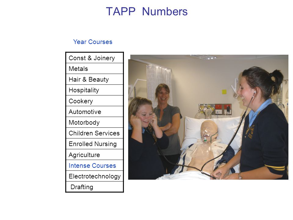 TAPP Numbers Const & Joinery Metals Hair & Beauty Hospitality Cookery Automotive Motorbody Children Services Enrolled Nursing Agriculture Intense Courses Electrotechnology Drafting Year Courses